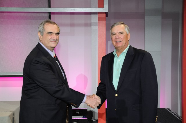 CSC President Mike Laphen (R) presents 2010 Leading Edge Forum Papers award to John J. Xenakis