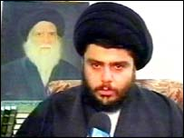 Left: Malcolm X, who rejected compromise and advocated violence against U.S. government  in the 1960s; Right: Shi'ite Muslim cleric Moktada al-Sadr, who rejects compromise and advocates violence against Coalition, 2004