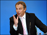 Grim-faced British Prime Minister Tony Blair <font size=-2>(Source: BBC)</font>
