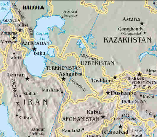 Caspian Sea and surrounding countries in central Asia <font size=-2>(Source: CIA Fact Book)</font>