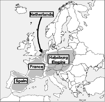 Rough map of Europe showing main participants in last decade of the Thirty Years' War