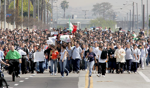 There were over 500,000 Latino marchers in Los Angeles <font size=-2>(Source: aztlan.net)</font>
