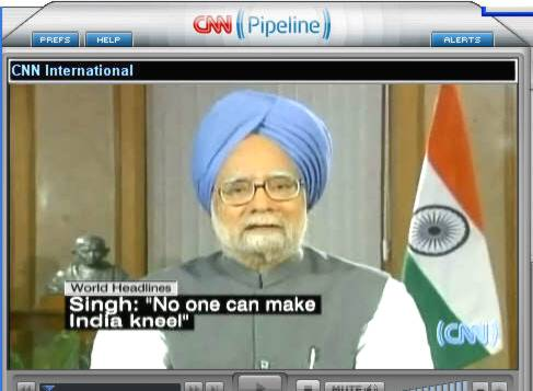 India's prime minister, Manmohan Singh on 7/11. <font size=-2>(Source: CNN)</font>