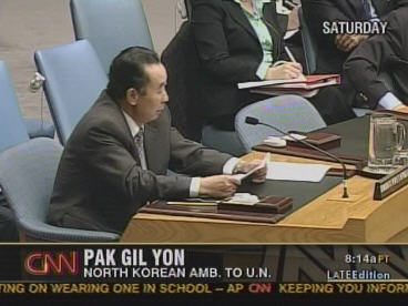 North Korean ambassador Pak Gil Yon reading a very bitter response to Security Council sanctions. <font size=-2>(Source: CNN)</font>