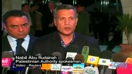 Abbas spokesman Nabil Abu Rudainah announcing the peace agreement. <font size=-2>(Source: CNN)</font>