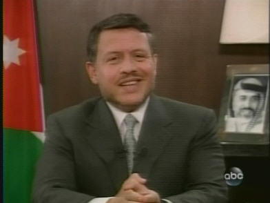 King Abdullah smiles as he explains to the airhead Stephanopolous what's going on in the Mideast. <font size=-2>(Source: ABC News)</font>