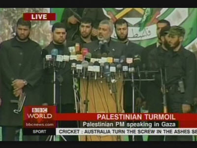 "Palestinian Prime Minister Ismail Haniyeh at Hamas rally, yells, ""We joined this movement to become martyrs, not ministers!"" <font size=-2>(Source: BBC)</font>"