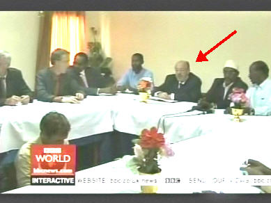 European envoy Louis Michel heads peace meeting, while fighting with rockets and heavy weapons continues just a few miles away. <font size=-2>(Source: BBC)</font>