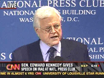 Senator Ted Kennedy at National Press Club <font size=-2>(Source: CNN)</font>