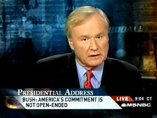 NBC News reporter Chris Matthews commenting on President Bush's speech <font size=-2>(Source: MSNBC)</font>