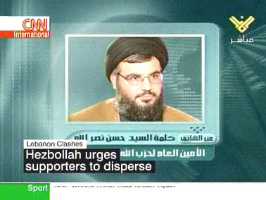 Hizbollah chief Sheik Sayyed Hassan Nasrallah on Lebanese television Thursday, telling his supporters to stop fighting and go home. <font face=Arial size=-2>(Source: CNN)</font>
