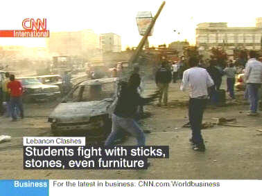 Street battles at Beirut Arab University <font face=Arial size=-2>(Source: CNN)</font>
