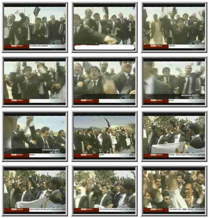 Rioting lawyers, complete with suits and ties, in Islamabad, Pakistan, on March 18 <font size=-2>(Source: BBC)</font>