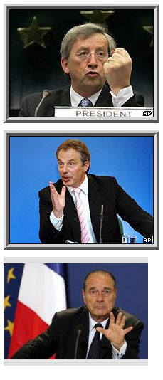 June 2005: Jean-Claude Juncker, Tony Blair, Jacques Chirac