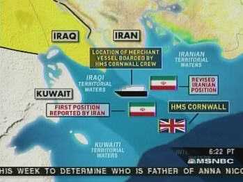 Map showing conflicting claims of UK and Iran. <font size=-2>(Added 2-Apr)</font> <font size=-2>(Source: MSNBC)</font>