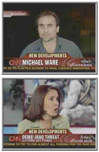 Unshaven Michael Ware is interviewed by lovely anchor Suzanne Malveaux <font size=-2>(Source: CNN)</font>