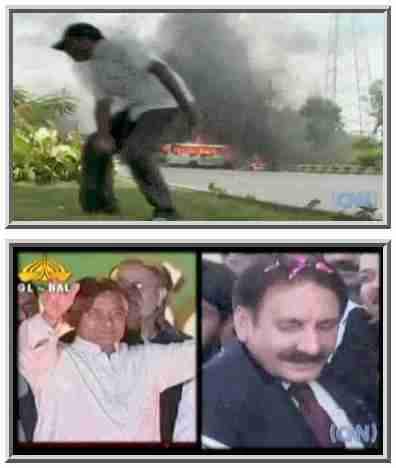 Top: Riots in Karachi on Saturday. Bottom: President Pervez Musharraf and Chief Justice of Pakistan (CJP) Iftikhar Muhammad Chaudhry <font size=-2>(Source: CNN)</font>