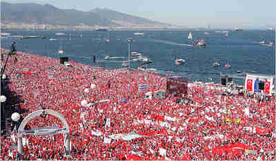 Over a million secularist demonstrators wave national flags during anti-Islamist rally in Izmir <font size=-2>(Source: IHT)</font>