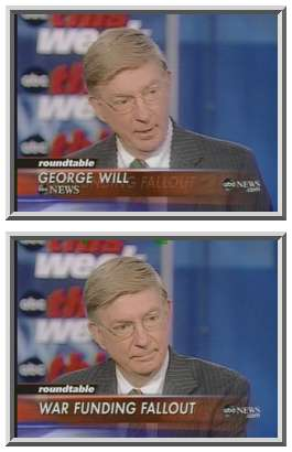 George Will, speaking angrily about the Democrats' statements, and stopping abruptly at the bottom frame. <font size=-2>(Source: ABC)</font>