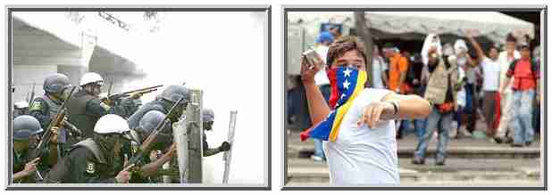 At left, policemen fire tear gas and rubber bullets at students. At right, a student demonstrator, face draped in a Venezuelan flag, throws a rock at the police. <font size=-2>(Source: Der Spiegel)</font>