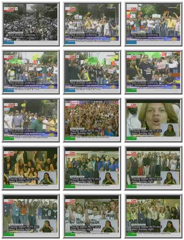Here's a variety of scenes shown live around noon Tuesday on Venezuela television. <font size=-2>(Source: CNN)</font>
