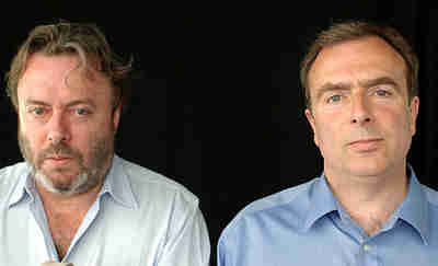 Christopher Hitchens, left; his brother, Peter Hitchens, on the right.
