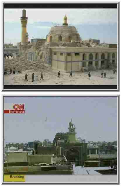 Top: The shrine after the February 2006 bombing.  You can see one of the two golden minarets on the left.  Bottom: The shrine today. The two minarets are now completely destroyed. <font size=-2>(Source: BBC and CNN)</font>