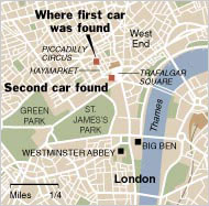 London locations of the car bombs <font face=Arial size=-2>(Source: NY Times)</font>