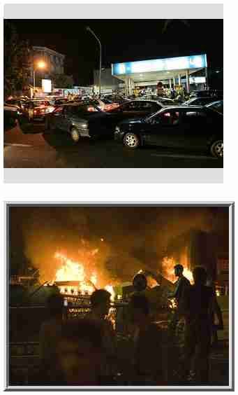 Gas rationing in Iran caused huge lines for gas and trashing of gas stations <font face=Arial size=-2>(Source: Der Spiegel)</font>
