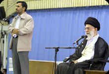 Islamic Revolution leader Ayatollah Khamenei and President Mahmoud Ahmadinejad on television on Saturday. <font face=Arial size=-2>(Source: presstv.ir)</font>