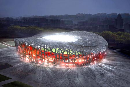 Computer-generated image of the National Stadium, also known as the Bird's Nest. <font face=Arial size=-2>(Source: Xinhua)</font>