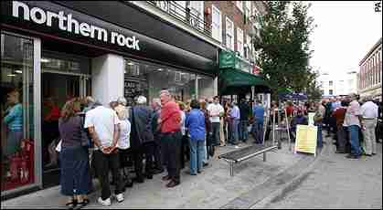 Northern Rock customers face long, slow queues to withdraw their deposits in 76 branch offices around Britain. <font face=Arial size=-2>(Source: Guardian)</font>