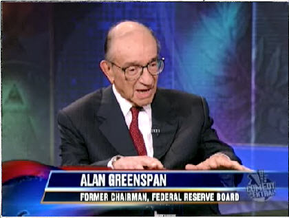 Alan Greenspan being interviewed by Jon Stewart <font face=Arial size=-2>(Source: Comedy Central)</font>
