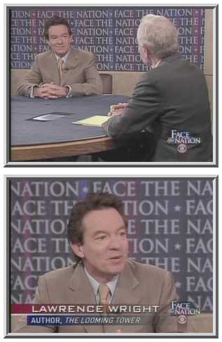 Lawrence Wright with Bob Schieffer on <i>Face the Nation</i> <font face=Arial size=-2>(Source: CBS)</font>