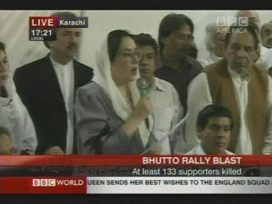 Benazir Bhutto, at a press conference on Friday afternoon. <font face=Arial size=-2>(Source: BBC)</font>