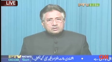 Pakistan President Pervez Musharraf, speaking to the nation and the world on Saturday <font face=Arial size=-2>(Source: CNN)</font>