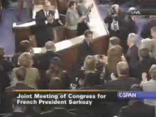 Sarkozy shakes hands after his speech ends <font face=Arial size=-2>(Source: C-SPAN)</font>