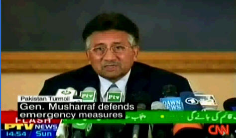 Tense and somber Pakistan President Pervez Musharraf at press conference on Sunday <font face=Arial size=-2>(Source: CNN)</font>