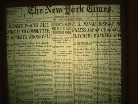 The NY Times of December 18, 1937, photographed in the Nanjing Massacre Memorial in Nanjing, China, with news of the Nanjing massacre as the lead page one story. <font face=Arial size=-2>(Source: Xinhua)</font>