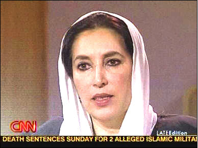 Benazir Bhutto, in a mid-November interview <font face=Arial size=-2>(Source: CNN)</font>