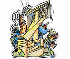 Cartoon depiction of the &quot;subprime virus&quot; destroying a bank by removing its supporting pillars. <font face=Arial size=-2>(Source: livemint.com)</font>