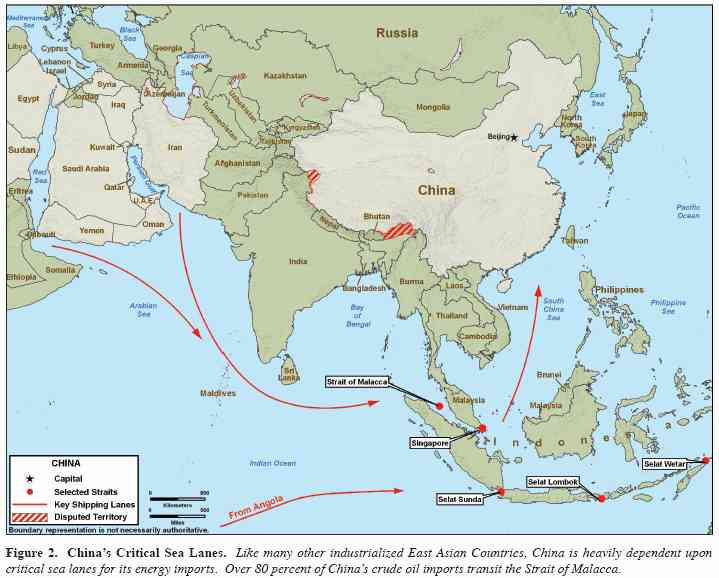Map showing China's dependence on vital sea lanes <font face=Arial size=-2>(Source: Pentagon)</font>