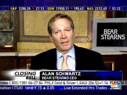 Alan Schwartz, Bear Stearns CEO, on Wednesday, saying that Bear Stearns was fine. <font face=Arial size=-2>(Source: BBC)</font>