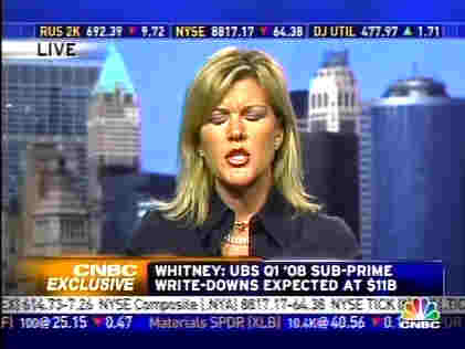 Meredith Whitney often closes her eyes when she talks, as if she doesn't want to see other people's reactions to the bad news <font face=Arial size=-2>(Source: CNBC)</font>