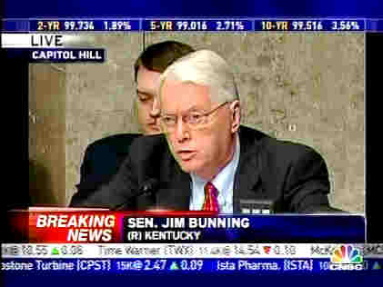 Sen Jim Bunning, (R) Kentucky, questioning at Senate Banking Committee