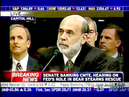 Fed chairman Ben Bernanke, testifying at Senate Banking Committee