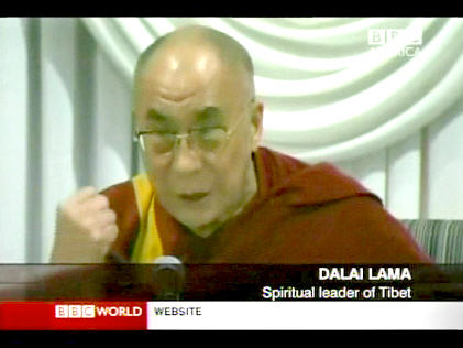 Dalai Lama making a statement on Friday. <font face=Arial size=-2>(Source: BBC)</font>