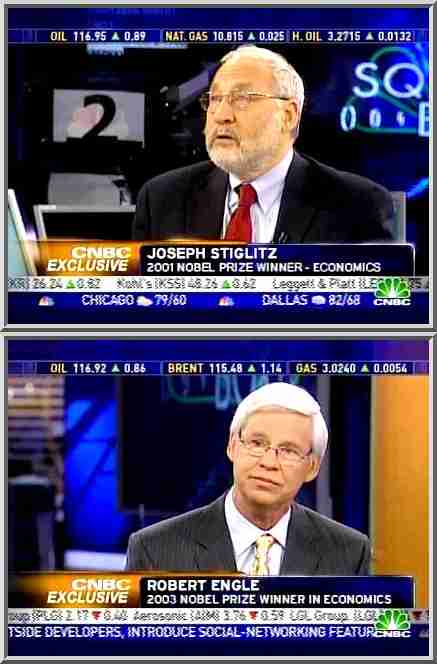 Robert Engle and Joseph Stiglitz, Nobel Prize winners in Economics <font face=Arial size=-2>(Source: CNBC)</font>
