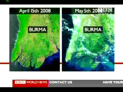 Burma - Satellite photo before (April 15) and after (May 5) Cyclone Nargis <font face=Arial size=-2>(Source: BBC)</font>