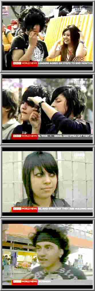 Top 3 frames: Emos; bottom frame: Punker. <font face=Arial size=-2>(Source: BBC)</font>